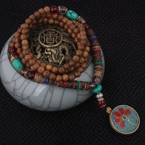 Wholesale- fashion evade enamell ethnic necklace,life tree vintage plate Nepal jewelry,handmade sanwood bodhi beads vintage necklace