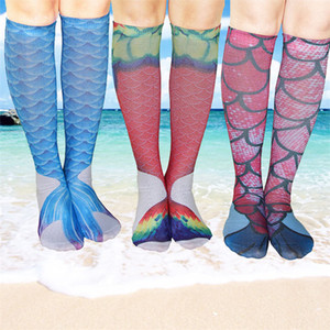 Impresión 3D caliente Mermaid Beach Socks Kids funny Mermaid Tail Socks Rodilla Cosplay Calcetines Calcetines largos de pescado Medias IB585