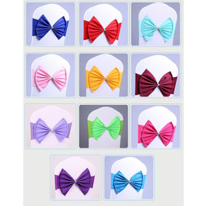 Elastic Wedding Chair Sashes Bow Tie Diamond Bands Chair Cover Sash for Party Birthday Banquet Chair Decoration