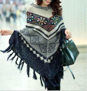 Moda Cardigan con suéter Pullover Mujeres Mujeres Bufanda y Ponchoes Capas de invierno Cape Tassel Pull Bohemian Vintage Suéter Accesso Qjpl