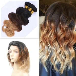 Honey Blonde Ombre Color # 1B / 4/27 Bundle di capelli umani vergini con chiusura frontale a banda di pizzo 360 22.5 * 4 * 2
