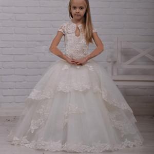 2020 New Vintage dentelle Princesse pas cher robes de demoiselle pour les mariages col montant junior Pageant robe Appliques Filles Robes de bal formelles