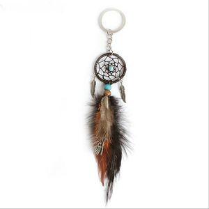 Ancient Silver Leaves Handmade Dream Catcher Key Chain Pendant Keyring Dream Catcher Creative Tassel Feather Keychains