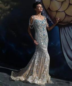 2017 반짝 이는 라인 석 Evenen 가운 광장 Neckline 장식 조각 블루 크리스탈 구슬 레드 카펫 드레스 인어 긴 저녁 드레스