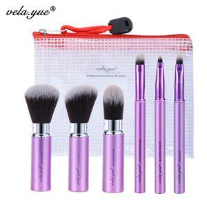 Vela .Yue Make-up Pinsel Set 6tlg. Reise Beauty Tools Kit Retractable mit Deckel und Etui Kosmetikpinsel Make Up Tools