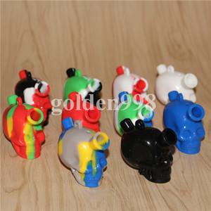 Kits de Coletor de Néctar de Silicone crânio com dom 10mm macho ti Prego nector coletor de plataformas de petróleo Vidro blunt bubbler mini silicone bong DHL