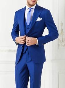 تصميم مخصص اثنين من أزرار Royal Blue Groom Tuxedos Groommen Peak Lapel Men Wedding Tuxedos Dinner Prom Suits (Jacket+Pants+Vest+Tie) G1529