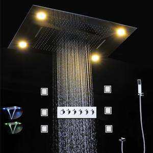Techo eléctrico de alta calidad LED de la ducha de arriba 304 de la cascada de lluvia cabeza del baño Grifos Set