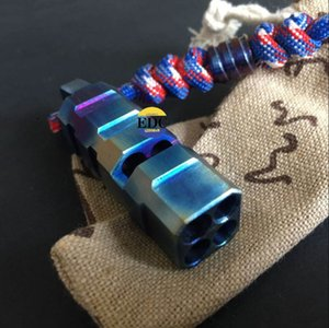 Titanyum TC4 Kavrulmuş mavi 4 delik Düdük EDC Açık Yürüyüş Acil Survival çağrı cebi Araçları