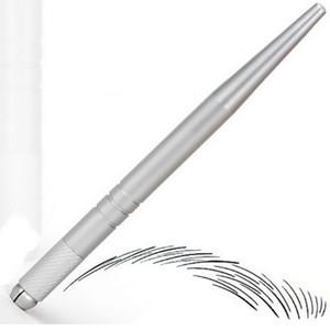 100Pcs gümüş profesyonel kalıcı makyaj kalemi 3D nakış makyaj manuel kalem dövme kaş MicroBlade