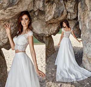 New Summer Two Pieces Bohemian Wedding Dresses 2020 Illusion Neck Cap Sleeve Court Train Lace Tulle A-Line Beach Bridal Gown Robe de mariee
