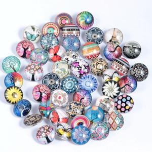 50 шт. новые горячие mix цвет продажа 18 мм щелкает ювелирные изделия стеклянная кнопка для DIY ожерелье прелести защелки прелести