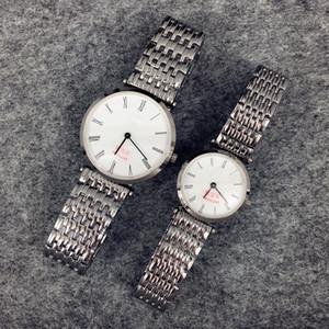 2017 Yüksek Qulity Kadınlar / Adam Lüks İzle Saat Altın / Gümüş renk paslanmaz Çelik Kuvars Safir cam Japonya Hareketi bayan Elbise İzle