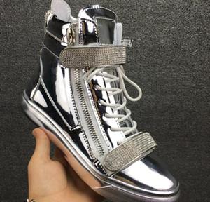 2017 Марка мужчины кроссовки лакированная кожа повседневная обувь мужской партии обуви щепка цвет обувь зашнуровать кроссовки с Кристалл металла блесток