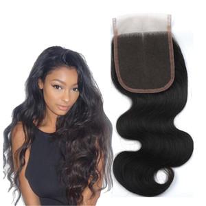 Лучшие кружева 4x4 кружева закрытия бразильского тела волна 100% ручной работы необработанные девственные человеческие волосы закрытия естественный черный свободный средний три части