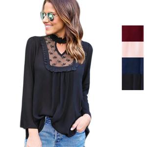 2017 Yeni Moda Kadınlar Uzun Kollu Bluz Tops Gevşek kadın T-Shirt Rahat Dantel Şifon Tee 4 Renkler