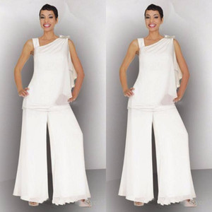Elegante Mutter der Braut Bräutigam Pant Suit Ruched Crystal Plus Size Weiß Chiffon Elegante Frauen Formale Hochzeit Gast Kleider