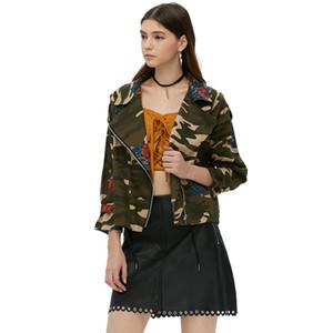 Nuove donne primavera Jeans giacca Army green Camouflage zipper Manica lunga Rosa Stampa Donna abiti cappotto feminino Chaquetas