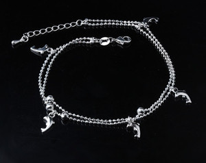 Womens Dolphin Anklets S925 Sterling Silver Ankle Bracelets Ankle Chain Barefoot Sandals Foot Chains Charms For Foot