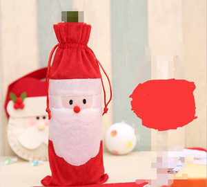 Noel Şarap Şişesi Kapakları Kırmızı Şarap Torbaları Dekorasyon Noel Baba Kardan Adam Tarzı Ile Kırmızı Pretty Kravat şampanya Kapa ...
