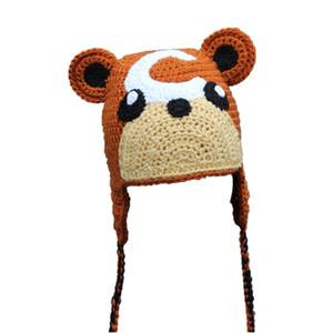 الجدة الطابع الحيوان قبعة ، اليدوية حك الكروشيه بيبي بوي فتاة الكرتون أنيمي قبعة ، أطفال هالوين زي ، طفل رضيع صور الدعامة