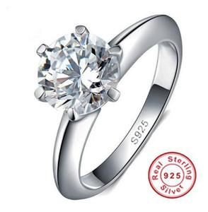 100% 925 anillos de bodas de plata esterlina para mujeres Classic 6 PRONG 1 CT SONA CZ Diamond Anillo de compromiso Conjuntos de novia Joyería nupcial