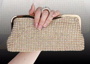 Hochwertige neue Strass Frauen-Handtaschen-Diamanten-Finger-Ring-Abend-Beutel Kristall Hochzeit Brauthandtaschen-Geldbeutel-Taschen Schwarz / Gold-Silber