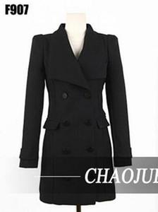 Una mujer temperamento del período de primavera y el otoño y el estilo caliente boutique de alta gama capa de foso doble de pecho / S-4XL