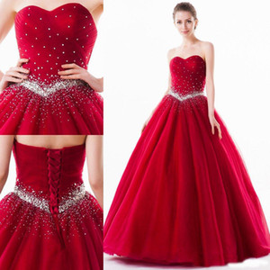 Free Shipping Ball Gown Sweetheart Floor Length Tulle Quinceanera Dresses Crystal Lace Up Sweet 16 Girl's Prom Dresses Sleeveless