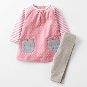 NOUVELLE ARRIVÉE Little Maven girs Kids 100% coton manches longues col rond dot dot ensemble fille causal automne fille set robe + pantalon
