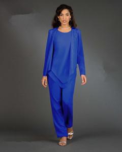 Nuevo diseñador de 3 piezas / set Royal Blue gasa madre de la novia Tamaño Trajes de manga larga de las bragas de partido de las mujeres de los vestidos de señora Plus vestidos de noche