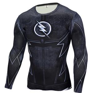 Vente en gros - Le pantalon noir flash t shirt hommes t-shirts imprimés en 3D chemise de compression fitness crossfit à manches longues coupe slim top t-shirt