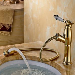Spedizione gratuita Golden miscelatore rubinetto del bagno Con Spay Pull Out / Single Hole Bacino Miscelatore Bagno Rubinetto Vessel Vanity HS 438