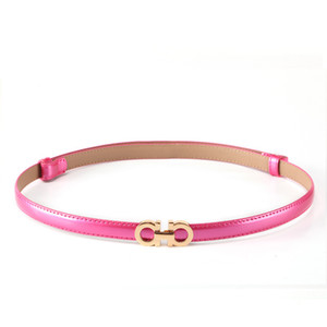 New Style Summer Fashion Women Luxury Designer Rose gold Buckle Waist Belts Ladies Patent Leather Slim Dress Belt