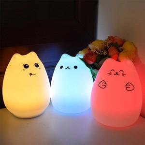 Красочный кот Силиконовый светодиодный ночник Перезаряжаемый сенсорный датчик света 2 режима дети милый ночник спальня свет