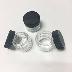 Grau alimentício antiaderente 5ml frasco de vidro temperado recipiente de vidro Cera Dab jarreto seco recipiente de erva com tampa preto VS 6ml frasco de vidro