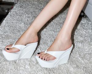 Atacadista frete grátis preço de fábrica cunha calcanhar sandália flip flops plataforma Flange Umbigo mulheres de salto alto sapato comércio exterior