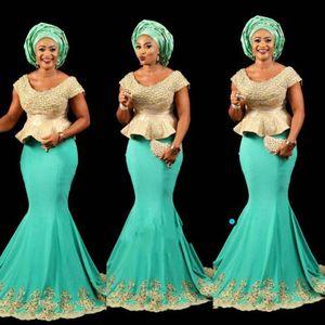 Aso Ebi stile menta peplo africano abito da ballo stile nigeriano Lady serata vestito da partito con maniche corte vestito da festa formale sirena occasione