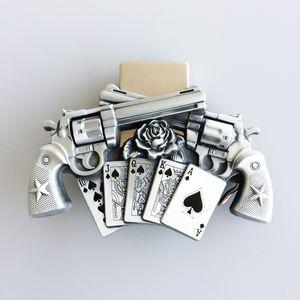 Hommes ceinture Boucle NOUVEAU Vintage Gun Vintage Royal Flush Poker Spinner Buckle Boucle Boucle de Ceinture Buckle-LT017 Tout neuf