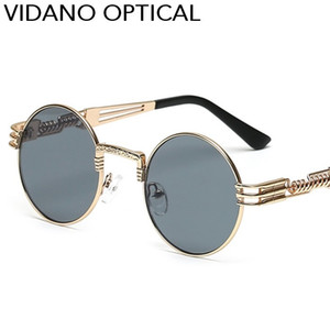 Occhiali moda Vidano Optical Occhiali da sole rotondi metallici Steampunk Uomo Donna Retro Occhiali da sole UV400