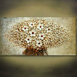 Framed Flower Tree,Pure Handicrafts Modern Abstract Art Oil Painting ,On High Quality Canvas For Home Wall Decor size can be customized