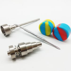 봉 DAB 도구 세트 GR2 6 in 1 10mm 14mm 18mm 티타늄 네일 키트 Carb Cap Dabber Slicone 항아리 유리 용 물 봉