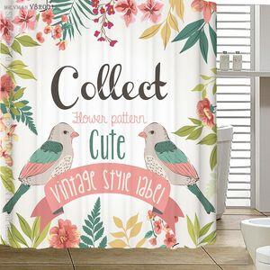 180x180cm Oiseaux de dessin animé Rideaux Douche Rideaux étanches 3D Douche Rideau d'épaisseur Tissu Polyester Rideaux de salle de bain