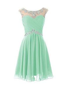2019 Lunghezza al ginocchio Carino Mint Sheer Girocollo Prom Dresses Pieghe Backless Immagine reale Abiti da damigella d'onore Dresse corto Cocktail Party Dress