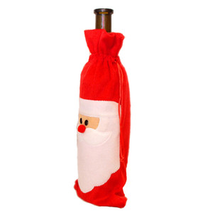 Christmas Santa Claus Wine Bag Pleuche Mixed With Non Woven Wine Bottle Cover For Christmas Decorations ELCD025