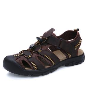 Wholesale-38-47 Plus Size Men Sandals Soft Leather Sandals Men Summer Style Shoes Outdoor Sport Men Shoes 2016 New US11 US12 US13
