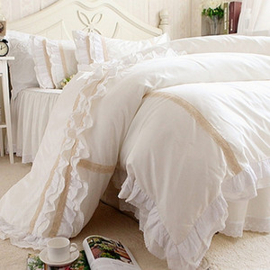 Wholesale- New ruffle emboridery  bedding set elegant brief bedding matching duvet cover bedspread romantic princess bed skirt sheet