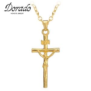 Alta qualità Prezzo basso Colore oro Gesù Croce Pendente Collana Gioielli religiosi Collana Crocifisso Dichiarazione Regalo di Natale Jewerly