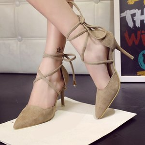 2016 Spring Summer Style Pumps Gladiator Frauen Sandalen Knöchelriemen High Heels Schuhe Flach Kreuz gebunden Spitz Lace Up Pumpe LPP33