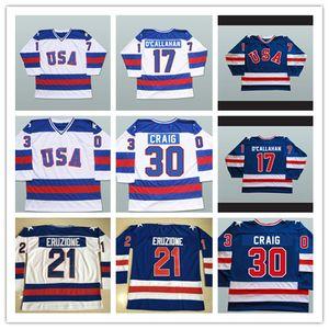 얼음 17 잭 오 칼라 한 (21) 마이크에 루지 온 30 짐 크레이그 1980 미국 기적 하키 유니폼 올림픽 스티치에 1,980 기적